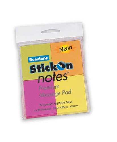 Product STICK ON NOTES B/TONE 38X50MM NEON COLS PK4 1 Werko