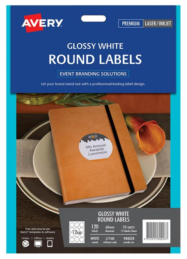 Product LABEL AVERY EVENTS & BRANDING L7100 ROUND GLOSS 12 UP 60MM PK10 1 Werko