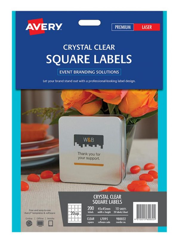 Product LABEL AVERY EVENTS & BRANDING L7095 SQUARE CLEAR 20 UP 45X45MM PK10 1 Werko