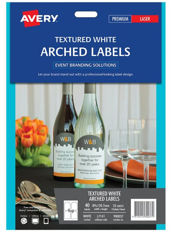 Product LABEL AVERY EVENTS & BRANDING L7141 ARCHED 4 UP 89X120.7MM PK10 1 Werko