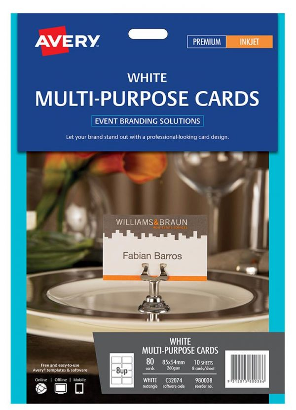 Product LABEL AVERY EVENTS & BRANDING C32074 M/PURPOSE CARD 8 UP 85X54MM PK10 1 Werko