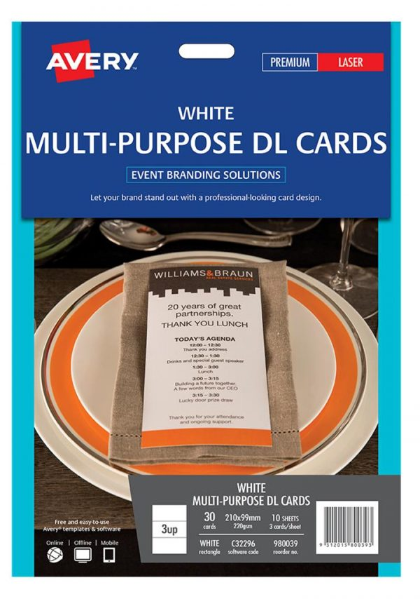 Product LABEL AVERY EVENTS & BRANDING C32296 M/PURPOSE CARD DL 3 UP 210X99MM PK10 1 Werko