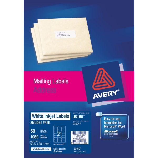Product LABEL AVERY INKJET WHITE 63.5X38.1 J8160 1 Werko