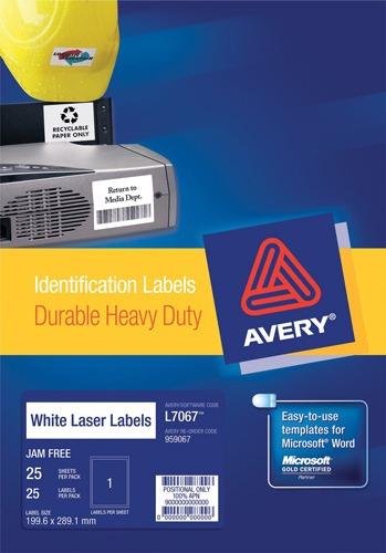 Product LABEL AVERY LASER L7067 SHIP H/D 199.6X289.1 1UP PK25 1 Werko
