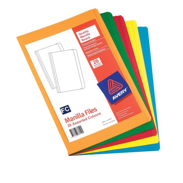 Product Avery Foolscap Manilla Folder 5 Rainbow Colours 20 Pack 1 Werko