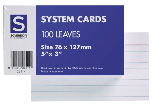 Product SOVEREIGN SYSTEM CARDS 5X3 RULED WHITE PK100 1 Werko