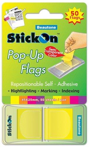 Product STICK ON FLAGS B/TONE POP-UP 45X25 LEMON 50 SHT PAD 1 Werko