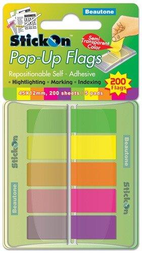 Product STICK ON FLAGS B/TONE POP-UP 45X12 200 SHT 5 ASST PADS 1 Werko