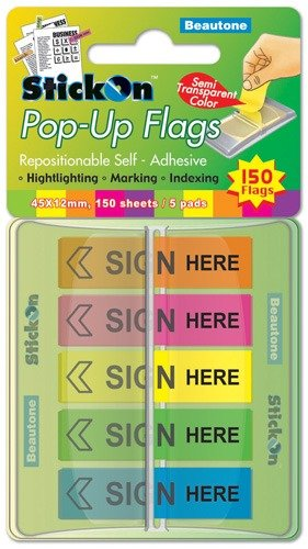 Product STICK ON FLAGS B/TONE POP-UP SIGN HERE 45X12 5 ASST PADS 150SHT 1 Werko