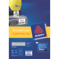 Product LABEL AVERY LASER L6011 H/DUTY SILVER 27UP PKT20 1 Werko