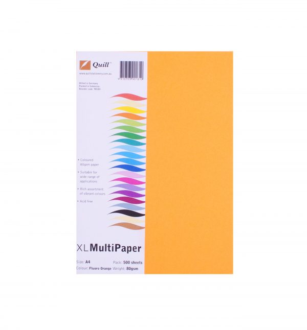 Product COPY PAPER QUILL A4 80GSM FLUORO ORANGE PK500 1 Werko