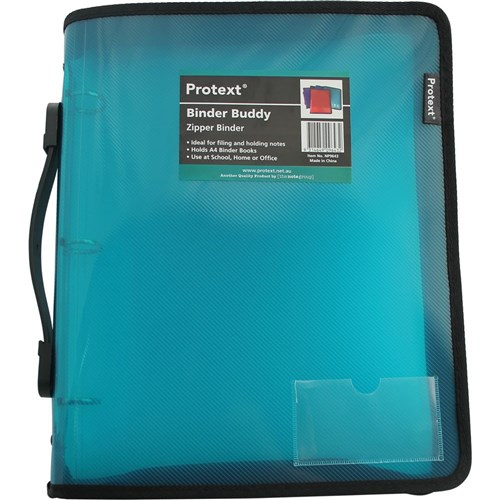 Product Protext Binder Buddy A4 3 RING 25mm With Zipper and Handle Aqua 1 Werko