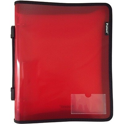 Protext Binder Buddy A4 3 RING 25mm With Zipper and Handle Red