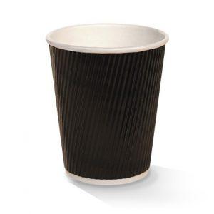 Ripple Wall Coffee Cups Black 227ml (8oz) Box Of 500