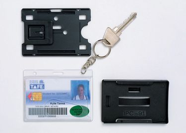 Product REXEL RIGID CARD HOLDER FUEL WITH KEYRING CLEAR PK2 1 Werko