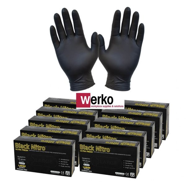 Black Nitrile Nitro Powder Free Disposable Gloves 10 glove boxes