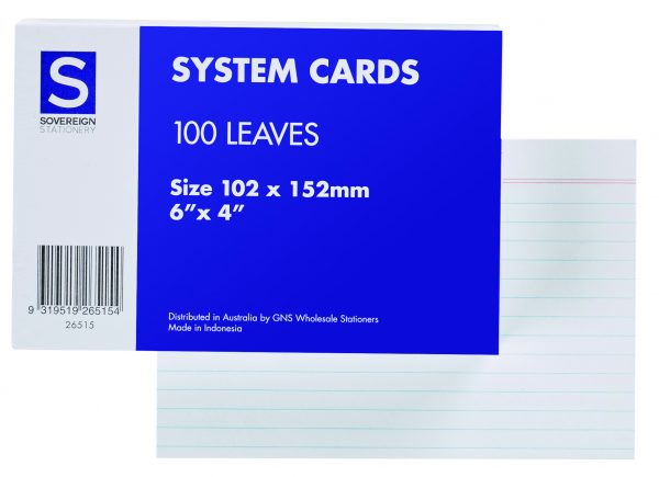 Product SOVEREIGN SYSTEM CARDS 6X4 RULED WHITE PK100 1 Werko