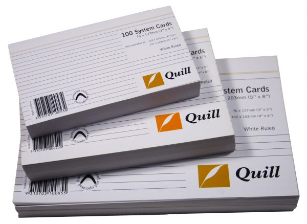 Product QUILL SYSTEM CARDS 8X5 RULED WHITE PK100 1 Werko
