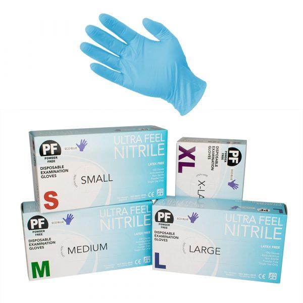 Product Ultra Feel Blue Nitrile Powder Free Disposable Exam Glove 1 Werko