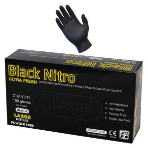 Black Nitrile Nitro Powder Free Disposable Gloves-Heavy Duty