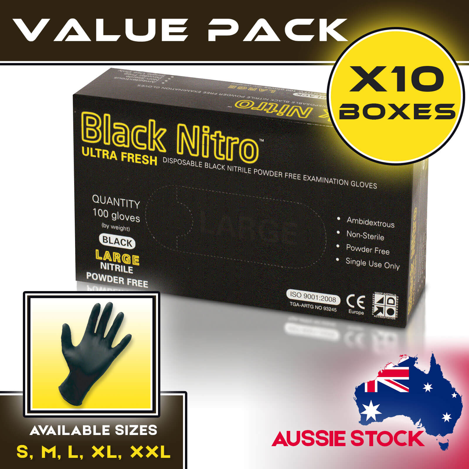 Black Nitrile Nitro Powder Free Disposable Gloves Carton