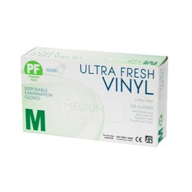 Ultra Fresh Clear Disposable Vinyl Powder Free Gloves