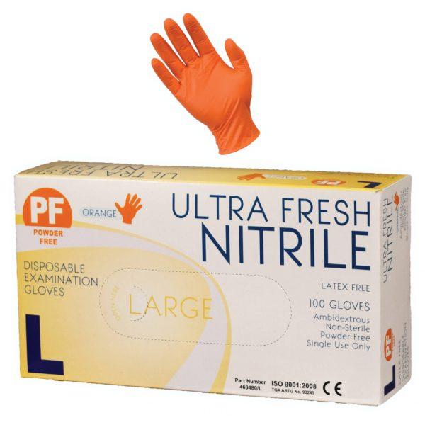 Ultra Fresh Orange Nitrile Powder Free Exam Glove