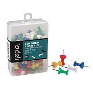 Deli Coloured Push Pins 100 Pack