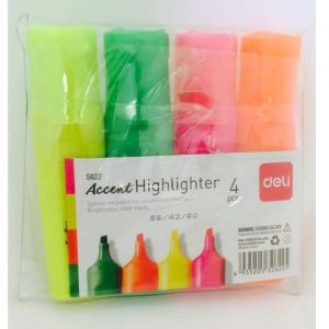 Deli Highlighter Wallet Assorted color 4 Pack