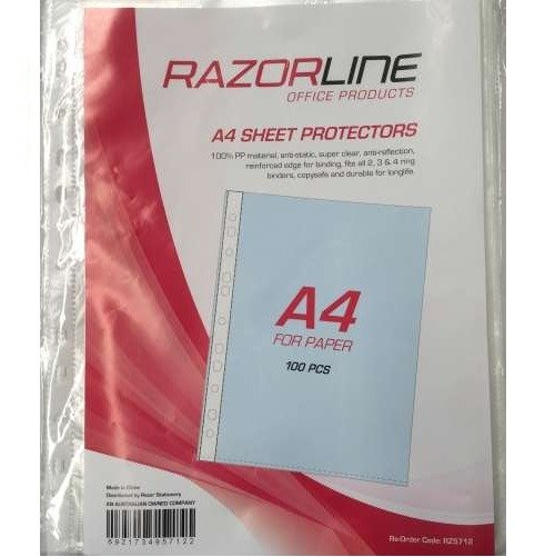 Razorline A4 Sheet Protectors .45 Micron 100 Pack