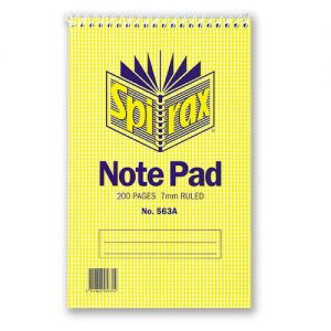 Spirax 563a Notebook Reporters Top Opening 200x127mm 200 Page