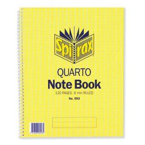 Spirax 593 Notebook Side Opening Quarto 252x200mm 120 Page