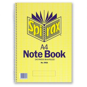Spirax 595a Side Opening Spiral Notebook A4 240 Page