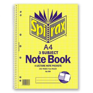 Spirax 599 Note Book 3 Subject Side Open A4 150 Pages