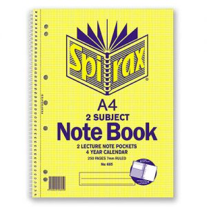 Spirax 605 Side Opening 2 Subject A4 250 Page Spiral Notebook