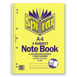 Spirax 606 Side Opening 4 Subject A4 320 Page Spiral Notebook