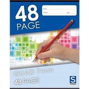 Sovereign 225x175mm Quad 10mm Squares Exercise Book 48 Page
