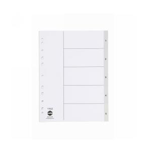 Marbig A4 Polypropylene 1-5 Numerical Indices Grey