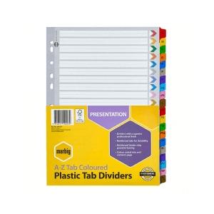 Marbig 35024F A4 A-Z Tab Coloured Dividers - Multicolour