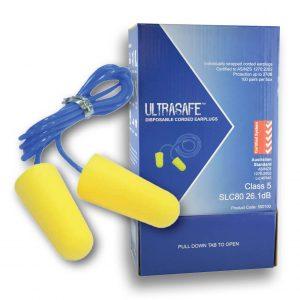 Ultrasafe Class 5 Corded Earplugs Box Of 100 Pairs