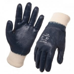 Hercules Blue Nitrile Dipped Knitted Wrist Medium Weight Gloves