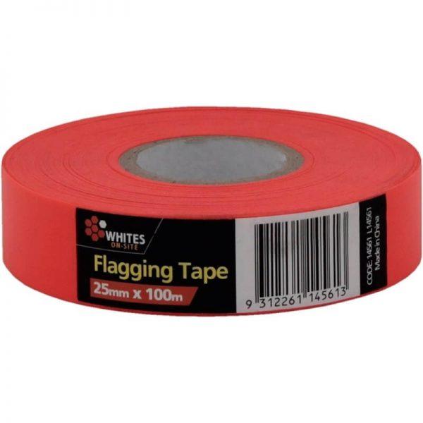 Maxisafe Fluoro Orange Flagging Tape, 25mm x 100m Roll