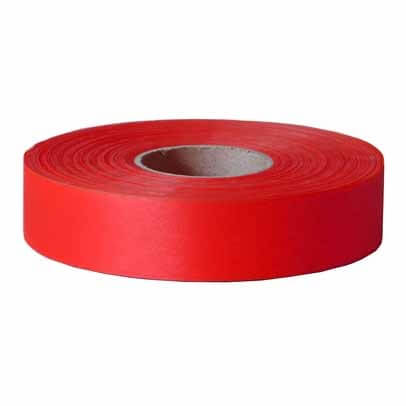 Maxisafe Fluoro Red Flagging Tape, 25mm x 100m Roll