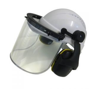 Hard Hat with Clear Visor Earmuff Assembly