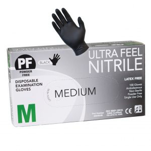 Ultra Feel Black Nitrile Powder Free Disposable Gloves