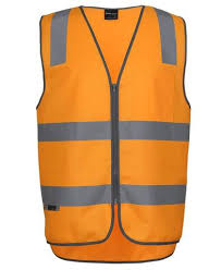 Aus Railway Hi Vis Orange Reflective Safety Vest With Zipper 6DVTV