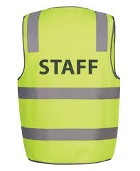 Hi Vis Reflective Yellow Staff Safety Vest 6DNS6