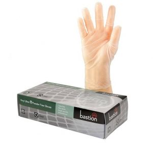 Bastion Disposable Vinyl Gloves Powder Free Clear Large Box 100