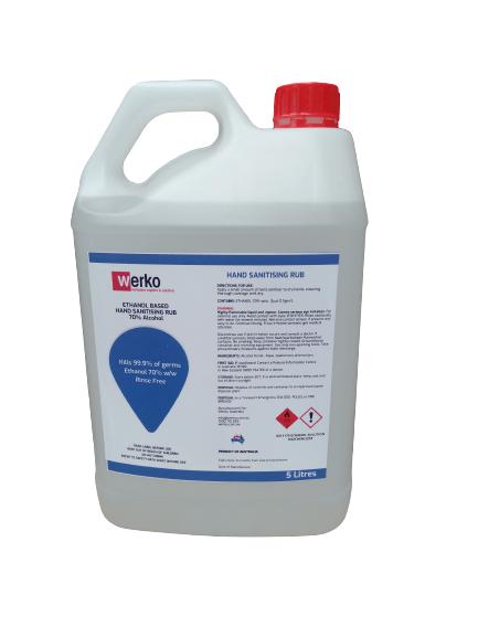 Hand Sanitiser Spray Rub 5 litre Liquid